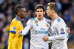 Cristiano Ronaldo of Real Madrid (R) confronts Blaise Matuidi of Juventus (L) during the UEFA Champions League 2017-18 quarter-finals (2nd leg) match between Real Madrid and Juventus at Estadio Santiago Bernabeu on 11 April 2018 in Madrid, Spain. Photo by Diego Souto / Power Sport Images