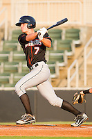 Mikey Planeta #7 of the Delmarva Shorebirds follows through on his swing against the Kannapolis Intimidators at Fieldcrest Cannon Stadium on May 21, 2011 in Kannapolis, North Carolina.   Photo by Brian Westerholt / Four Seam Images