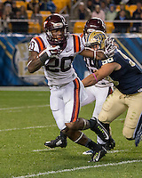 Virginia Tech wide receiver Deon Newsome (20). The Pitt Panthers defeated the Virginia Tech Hokies 21-16 at Heinz Field, Pittsburgh Pennsylvania on October 16, 2014