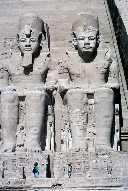Tourists, Statues of Ramses II, Abu Simbel, Egypt