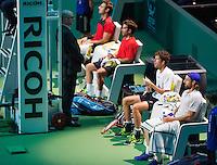 Februari 13, 2015, Netherlands, Rotterdam, Ahoy, ABN AMRO World Tennis Tournament, Marcel Granollers (ESP) / Marc Lopez (ESP) - Robin Haase (NED) / Andre Bagemann (GER)<br /> Photo: Tennisimages/Henk Koster