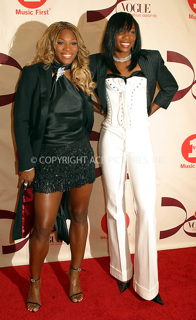 Tennis stars Venus and Serena Williams arriving at 2002 VH1/Vogue Fashion Awards at Radio City Misic Hall. New York, October 15, 2002. Please byline: Alecsey Boldeskul/NY Photo Press.   ..*PAY-PER-USE*      ....NY Photo Press:  ..phone (646) 267-6913;   ..e-mail: info@nyphotopress.com
