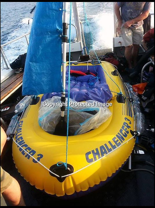 BNPS.co.uk (01202 558833)<br /> Pic: NigelHolder/BNPS<br /> <br /> ***Please use full byline***<br /> <br /> A dive boat had to rescue a Captain Calamity sailor found bobbing around in a six foot rubber dinghy 3 miles off the Dorset coast yesterday.<br /> <br /> The madcap mariner had set off in his unsuitable craft from Osmington beach near Weymouth to attempt a 35 mile voyage to Bournemouth.<br /> <br /> After several hours struggling against the prevailing tide the dive boat 'X-dream' had to come to his rescue.