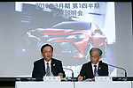 (L to R) Toyota's Senior Managing officers Tetsuya Otake and Nobuhiko Murakami speak during a news conference to announce their first quarter financial results at the office headquarters on August 4, 2017, Tokyo, Japan. They announced an increase in the number of vehicles sold versus the same period last year, and also an increase in net income up to 613 .0 billion yen for the quarter compared with 552.4 billion yen the previous year. (Photo by Rodrigo Reyes Marin/AFLO)