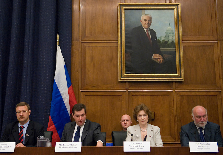 From left, Konstantin Kosachev, Chairman of the Committee on International Affairs of the Duma (Russia's parliament), Leonid Slutskiy, First Deputy Chairman of the Committee on International Affairs of the Duma, Natalia Narochnitskaya, Deputy Chairman of the Committee on International Affairs of the Duma, and Alexander Kozlovskiy, Deputy Chairman of the Committee on International Affairs of the Duma, participate in the joint meeting with members of the House Foreign Affairs Committee on Thursday, June 21, 2007.