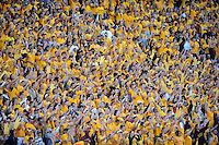Nov. 28, 2009; Tempe, AZ, USA; Arizona State Sun Devils fans cheer in the crowd against the Arizona Wildcats at Sun Devil Stadium. Arizona defeated Arizona State 20-17. Mandatory Credit: Mark J. Rebilas-