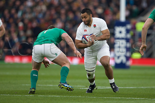 27.02.2016. Twickenham, London, England. RBS Six Nations Championships. England versus Ireland. England number 8 Billy Vunipola and Ireland prop Jack McGrath.