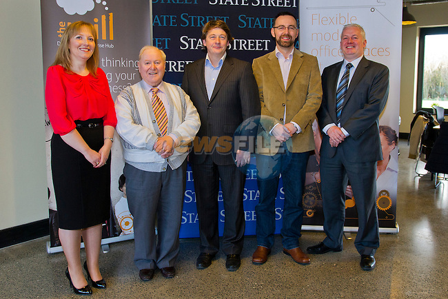 The Mill, Enterprise Centre, in Drogheda, is visited by Deirdre Ann Roche and Stephen Johnston, of IFS.<br /> Pictured, Left to right, Deirdre Ann Roche (IFS), Eugene Kierans (Director, The Mill), Mark Markey (Director, The Mill), Graham O Rourke (Chairman, Drogheda Enterprise Centre) and Stephen Johnston (IFS).<br /> Picture: Shane Maguire / www.newsfile.ie