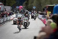 Nans Peters (FRA/AG2R - La Mondiale) on his way to his first pro win<br /> <br /> Stage 17: Commezzadura (Val di Sole) to Anterselva/Antholz (181km)<br /> 102nd Giro d'Italia 2019<br /> <br /> ©kramon