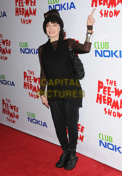 TONI BASIL.The The Pee-Wee Herman Show Opening Night held at Club Nokia at L.A. Live in Los Angeles, California, USA..January 20th, 2010.full length black top trousers jacket hat finger arm pointing .CAP/RKE/DVS.©DVS/RockinExposures/Capital Pictures.