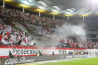 Choreographie der Frankfurter Fans mit Pyrotechnik - Eintracht Frankfurt vs. SV Darmstadt 98, Commerzbank Arena