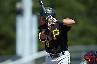 Jonah Davis (14) of the Bristol Pirates at bat against the Danville Braves at American Legion Post 325 Field on July 1, 2018 in Danville, Virginia. The Braves defeated the Pirates 3-2 in 10 innings. (Brian Westerholt/Four Seam Images)