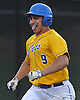 Frank Ippolito #9, East Meadow first baseman, reacts as he scores on a sacrifice fly in the bottom of the first inning in Game 3 of the Nassau County varsity baseball Class AA finals against Massapequa at Farmingdale State College on Wednesday, June 1, 2016. He drove in the first two runs of the game. East Meadow plated five runs in the first inning and led 5-0 after five innings.