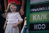 Runner up Vincenzo Nibali's (ITA/Bahrain-Merida) daughter has her eyes on the price on the podium<br /> <br /> 112th Il Lombardia 2018 (ITA)<br /> from Bergamo to Como: 241km