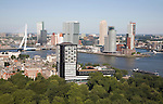 Views looking over the city centre from the 185 metre tall Euromast tower, Rotterdam, Netherlands