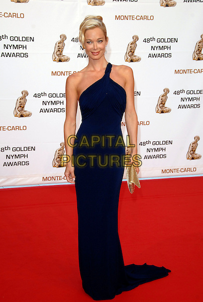JENNIFER GAREIS.At the Golden Nymph awards ceremony during the 2008 Monte Carlo Television Festival held at Grimaldi Forum, Monte Carlo, Principality of Monaco, .June 12, 2008..full length grecian one shoulder black gold clutch bag dress.CAP/TTL .©TTL/Capital Pictures
