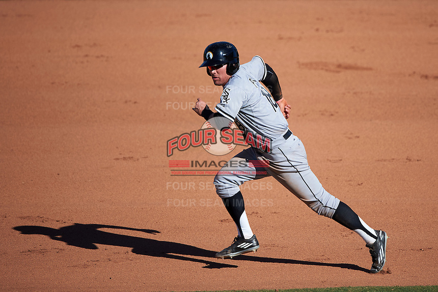 Glendale Desert Dogs third baseman Jake Peter (18) running the bases during an Arizona Fall League game against the Mesa Solar Sox on October 14, 2015 at Sloan Park in Mesa, Arizona.  Glendale defeated Mesa 7-6.  (Mike Janes/Four Seam Images)