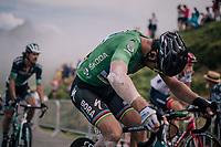 Peter Sagan (SVK/Bora-Hansgrohe) in the grupetto up the last climb of the 2018 Tour: the Col d'Aubisque (HC/1709m/16.6km@4.9%)<br /> <br /> Stage 19: Lourdes &gt; Laruns (200km)<br /> <br /> 105th Tour de France 2018<br /> &copy;kramon