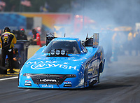 Aug 19, 2017; Brainerd, MN, USA; NHRA funny car driver Tommy Johnson Jr during qualifying for the Lucas Oil Nationals at Brainerd International Raceway. Mandatory Credit: Mark J. Rebilas-USA TODAY Sports