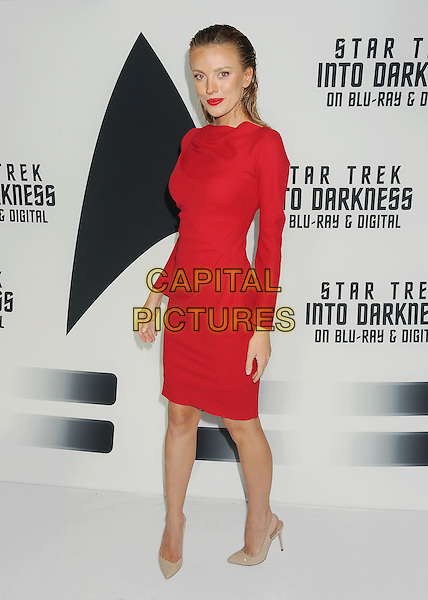 Bar Paly<br /> &quot;Star Trek Into Darkness&quot; DVD/Blu-Ray Release held at the California Science Center, Los Angeles, California, USA.<br /> September 10th, 2013<br /> full length dress red hair slicked back beige shoes<br /> CAP/ROT/TM<br /> &copy;Tony Michaels/Roth Stock/Capital Pictures
