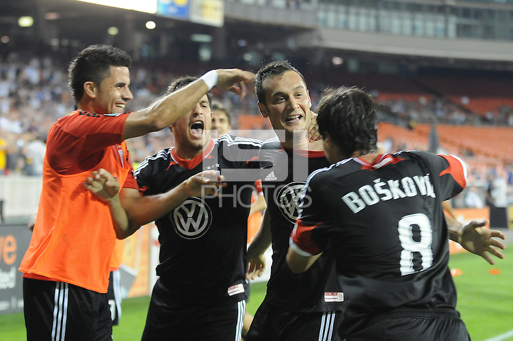 D.C. United forward Hamdi Salihi (9) celebrates his score in the 60th minute of the game with teammates Branko Boskovic (8) Danny Cruz (2) and Marcelo Saragosa (11) D.C. United defeated the Colorado Rapids 2-0 at RFK Stadium, Wednesday May 16, 2012.