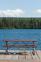 Picnic table on a dock at Isle Royale National Park.
