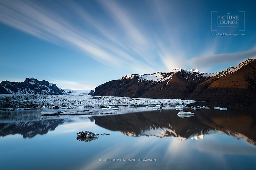 A stunning long exposutre over the glacial lagoon in the Vatnjökull National Park at the base of the Skaftafellsjökull glacier, in Southern Iceland.