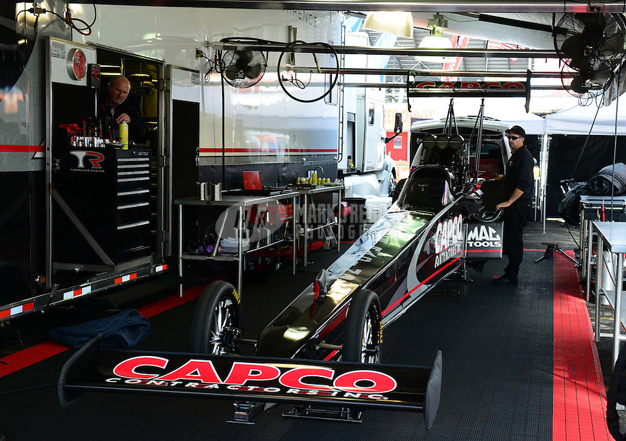 Nov. 9, 2012; Pomona, CA, USA: NHRA pit area of top fuel dragster driver Steve Torrence during qualifying for the Auto Club Finals at at Auto Club Raceway at Pomona. Mandatory Credit: Mark J. Rebilas-