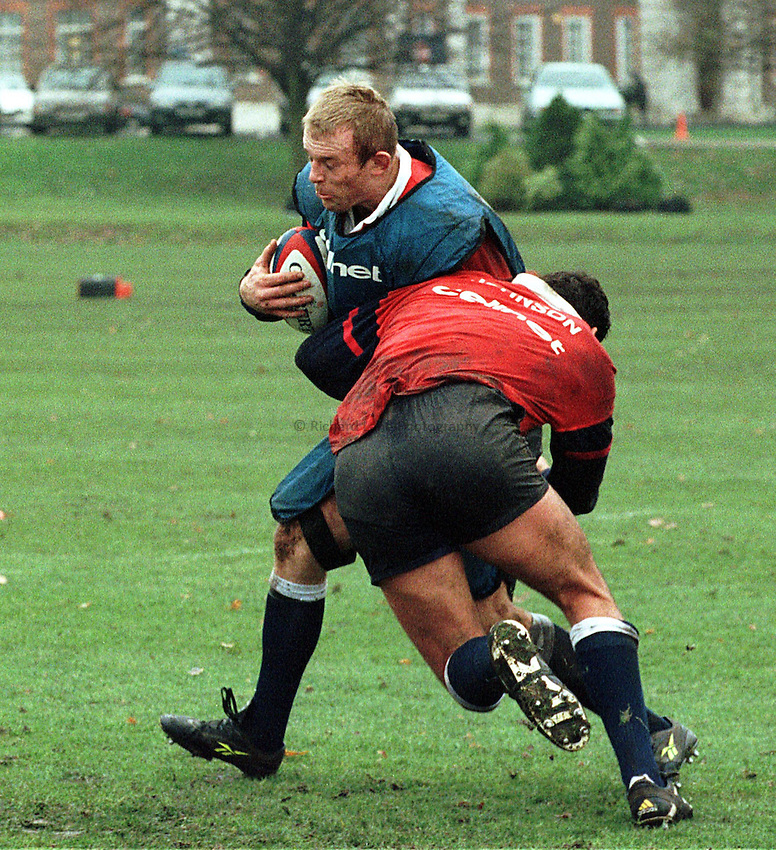Photo; Ken Brown.25.11.98  England Training Session.Tim Rodber tackled by Johnson