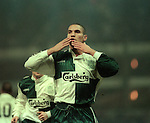 Stan Collymore celebrates his goal - Barclays Premier League - Aston Villa v Liverpool - Villa Park Stadium - Birmingham - England - 31st  January 1996 - Picture Simon Bellis/Sportimage