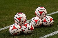Adidas MLS soccer balls stacked up prior to the start of pre game warmups. The New York Red Bulls and the Colorado Rapids played to a 1-1 tie during a Major League Soccer (MLS) match at Red Bull Arena in Harrison, NJ, on March 15, 2014.