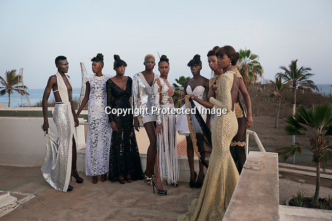 DAKAR, SENEGAL-JUNE 18: Models for Senegalese (New York based) designer Versaiille at a fitting before a show at Dakar Fashion Week on June 19, 2014, in Dakar, Senegal. Seventeen Senegalese, African and foreign-based designers showed their collections during the 12th edition of Dakar Fashion week. (Photo by Per-Anders Pettersson)