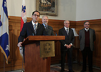 January 23, 2013 File Photo - Michael Applebaum, Mayor of Montreal (L), Jean-Francois Lisee, <br />     Minister of International Relations, La Francophonie and External Trade<br />       Minister responsible for the Montreal region (M) <br /> Jacques Leonard (R)<br /> at Montreal City Hall