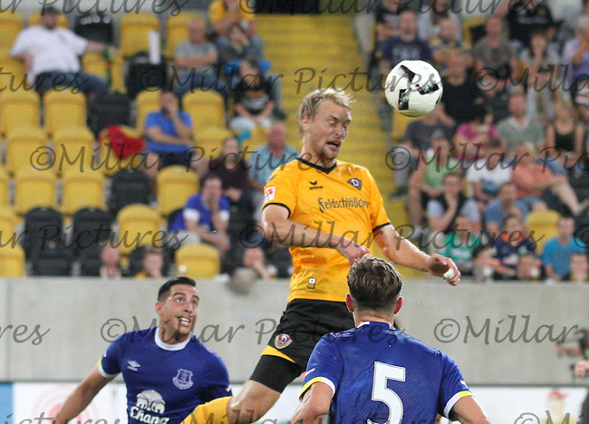 Tim Väyrynen heading the ball in the Dynamo Dresden v Everton match in the Bundeswehr Karriere Cup Dresden 2016 played at the DDV Stadion, Dresden on 29.7.16.