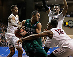 SIOUX FALLS, SD: MARCH 25:  Chris-Ebou Ndow #23 of Northwest Missouri State shields the ball from Fairmont State defenders  during the Men's Division II Basketball Championship game on March 25, 2017 at the Denny Sanford Premier Center in Sioux Falls, SD. (Photo by Dick Carlson/Inertia)