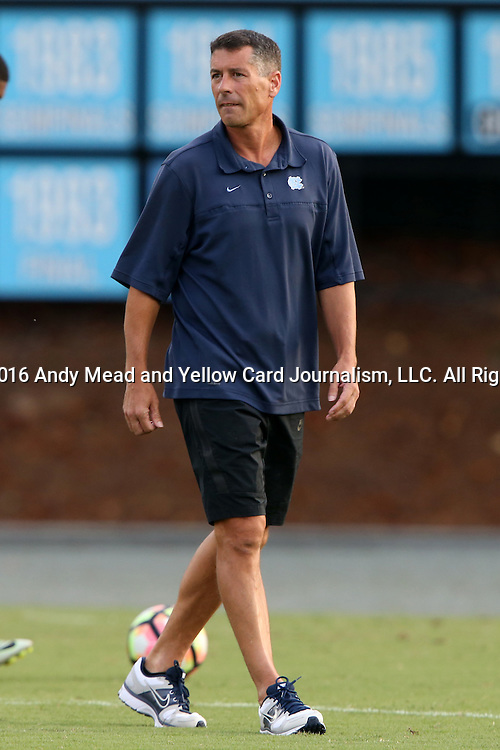 28 August 2016: UNC head coach Carlos Somoano. The University of North Carolina Tar Heels hosted the Saint Louis University Billikens at Fetter Field in Chapel Hill, North Carolina in a 2016 NCAA Division I Men's Soccer match. UNC won the game 3-0.