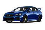 Stock pictures of low aggressive front three quarter view of a 2018 Subaru WRX STI Base 4 Door Sedan