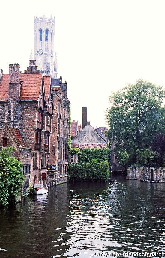 Bruges: Canal & Belfry.  Photo '87.