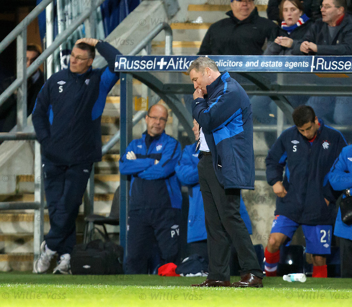 Ally McCoist dejection as Rangers are eliminated from the Scottish Communities League Cup