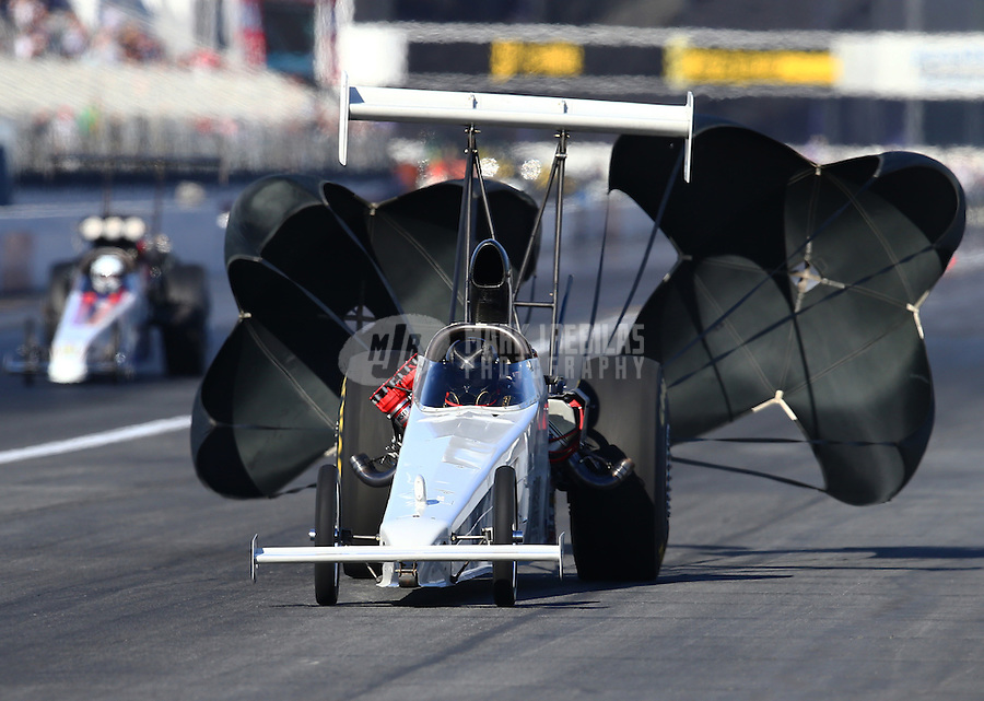 Feb 12, 2016; Pomona, CA, USA; NHRA top alcohol dragster driver Don St. Arnaud breaks a wing strut during qualifying for the Winternationals at Auto Club Raceway at Pomona. Mandatory Credit: Mark J. Rebilas-USA TODAY Sports