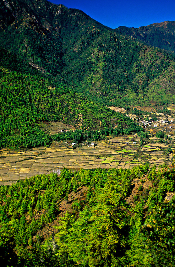 View across the Paro Valley from the Tiger's Nest Monastery (Taktsang), Bhutan