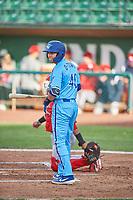 Jimmy Titus (40) of the Ogden Raptors bats against the Orem Owlz at Lindquist Field on June 20, 2019 in Ogden, Utah. The Owlz defeated the Raptors 11-8. (Stephen Smith/Four Seam Images)