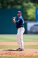 Mobile BayBears relief pitcher Ronnie Muck (15) gets ready to deliver a pitch during a game against the Pensacola Blue Wahoos on April 26, 2017 at Hank Aaron Stadium in Mobile, Alabama.  Pensacola defeated Mobile 5-3.  (Mike Janes/Four Seam Images)