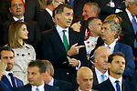 Queen Letizia of Spain (l) and King Felipe VI of Spain with the President of RFEF Angel Maria Villar during Spanish Kings Cup Final match. May 22,2016. (ALTERPHOTOS/Acero)