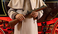 BNPS.co.uk (01202 558833)<br /> Pic: PhilYeomans/BNPS<br /> <br /> The Royal Mail Blunderbuss carried by the Guard.<br /> <br /> Last Post - Britain's last Royal Mail carriage, that bizarrely once survived an attack by a lion outside Salisbury, has been saved for the nation.<br /> <br /> The 200-year-old horse-drawn carriage harks back to the golden age of the Royal Mail when crowds gathered along the route to see the lightning-quick service thunder by.<br /> <br /> The restored four horse coach was known as 'Quicksilver' as it was the fastest in the land on its regular 21 hour run from Devonport, Devon, to London.<br /> <br /> But the red and black wooden wagon went down in history for an extraordinary incident involving a lion in the English countryside in 1816.
