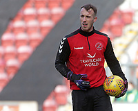 Fleetwood Town's Alex Cairns takes part in the pre match warm up before his 100th appearance for the club<br /> <br /> Photographer David Shipman/CameraSport<br /> <br /> The EFL Sky Bet League One - Bradford City v Fleetwood Town - Saturday 9th February 2019 - Valley Parade - Bradford<br /> <br /> World Copyright &copy; 2019 CameraSport. All rights reserved. 43 Linden Ave. Countesthorpe. Leicester. England. LE8 5PG - Tel: +44 (0) 116 277 4147 - admin@camerasport.com - www.camerasport.com