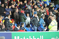 Cardiff City Stadium, Friday 11th Oct 2013. The Welsh supporters celebrate their teams goal during the Wales v Macedonia FIFA World Cup 2014 Qualifier match at Cardiff City Stadium, Cardiff, Friday 11th Oct 2014. All images are the copyright of Jeff Thomas Photography-07837 386244-www.jaypics.photoshelter.com
