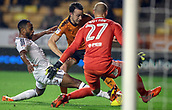3rd November 2017, Molineux, Wolverhampton, England; EFL Championship football, Wolverhampton Wanderers versus Fulham; Denis Odoi of Fulham gets his foot on the ball just before Diogo Jota of Wolverhampton Wanderers can strike