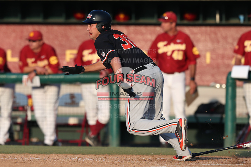 Michael Howard #30 of the Oregon State Beavers bats against the Southern California Trojans at Dedeaux Field on May 23, 2014 in Los Angeles, California. Southern California defeated Oregon State, 4-2. (Larry Goren/Four Seam Images)