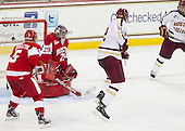 Matt Grzelcyk (BU - 5), Matt O'Connor (BU - 29), Kevin Hayes (BC - 12), Johnny Gaudreau (BC - 13) - The Boston College Eagles defeated the visiting Boston University Terriers 5-2 on Saturday, December 1, 2012, at Kelley Rink in Conte Forum in Chestnut Hill, Massachusetts.